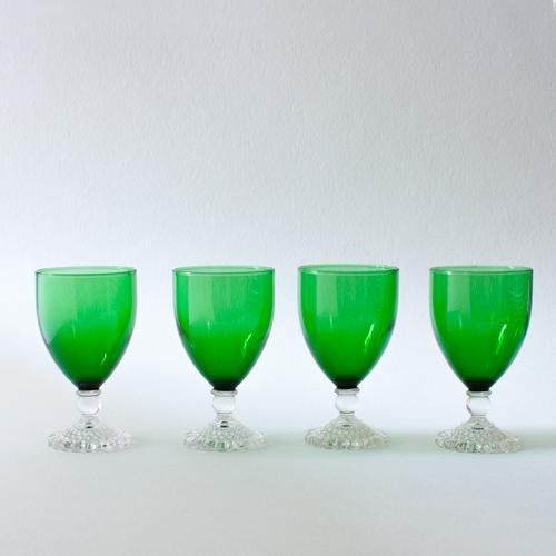 Art Deco Emerald Wine Goblets - Set of 4 For Sale - Image 3 of 4