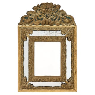 Napoleon III Period Brass Embossed Mirror For Sale