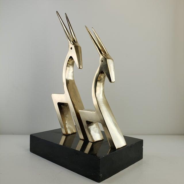 Mid-Century Modern Vintage Brass 2 Gazelle Sculpture Mid Century Modern Table Art For Sale - Image 3 of 12