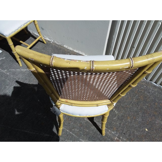 Set of Four Mid Century Modern Faux Bamboo Side Chairs For Sale - Image 9 of 10
