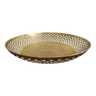 Vintage Moroccan Style Etched Brass Decorative Bowl