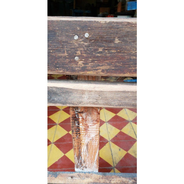 Moroccan 1980s Vintage Moroccan Handmade Old Wood Park Bench For Sale - Image 3 of 8