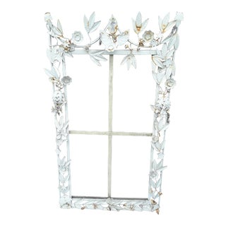 White Tole Picture or Mirror Metal Frame With Flowers, Leaves and Crystals For Sale