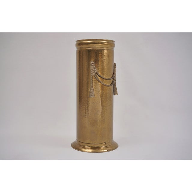 English Vintage Brass Umbrella Stand by Peerage For Sale - Image 3 of 12