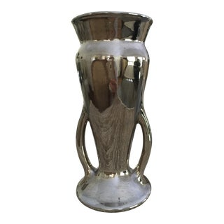 Vintage Platinum Metallic Glazed Ceramic Vase For Sale