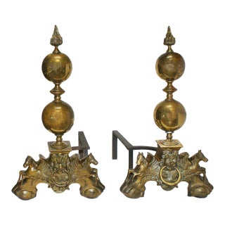 Early 20th Century French Baroque Style Brass Andirons - a Pair For Sale