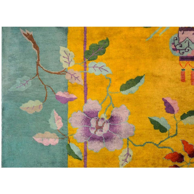 Vivid Early 20th Century Chinese Art Deco Rug For Sale - Image 10 of 12