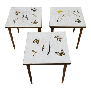 Mid Century Butterfly Design End Tables - Set of 3 For Sale