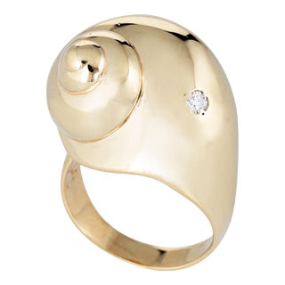 Vintage 14k Yellow Gold Snail Shell Diamond Ring For Sale