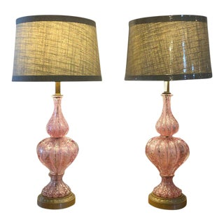 Large Barovier e Toso Murano Glass Table Lamps with Silver Aventurine - a Pair