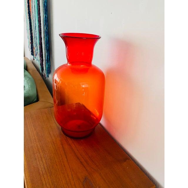 Blenko Tangerine Orange Floor Vase Scarce Oversized - # 7048 For Sale - Image 9 of 13