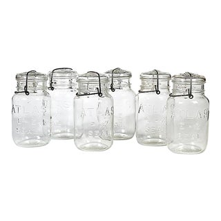 Large Kitchen Glass Canning Jars, Set of 6