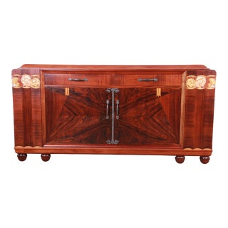 French Art Deco Rosewood Marble Top Sideboard Credenza With Mother-Of-Pearl Inlay, Newly Restored For Sale