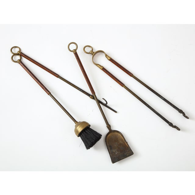 French 1950s Stitched Leather Fire Tools by Jacques Adnet For Sale - Image 3 of 13