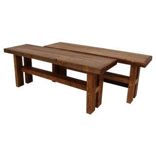 Small Farmhouse Reclaimed Barnwood Bench Set For Sale