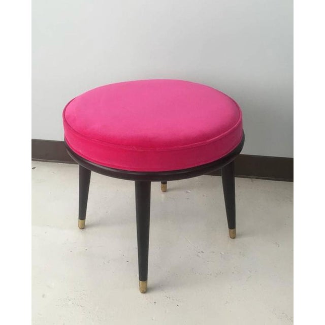 Mid-Century Hot Pink Velvet Stools - A Pair - Image 2 of 4