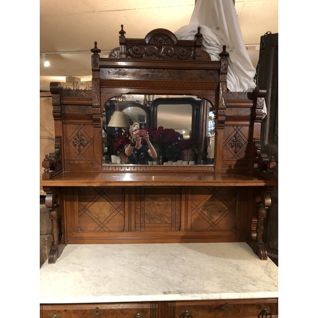 Victorian Antique Victorian Buffet With Burlwood and Marble Top For Sale - Image 3 of 12