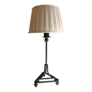 Hand Wrought Iron Table Lamp With Custom Pleated Belgium Linen Lampshade For Sale