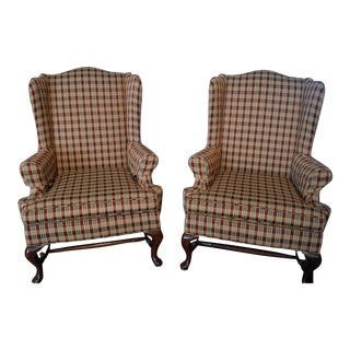 Traditional Queen Anne Style Wingback Chairs - a Pair For Sale