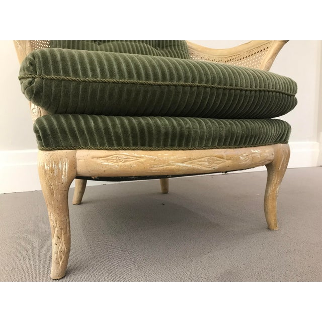 1960s Faux Bois / Cane Arm Chair With Green Corduroy For Sale - Image 10 of 13