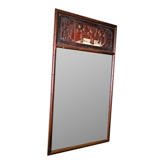 Chinese Chippendale Hollywood Regency Faux Bamboo Mirror For Sale