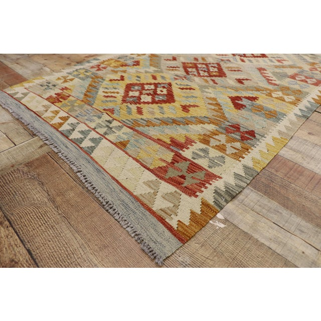 20th Century Boho Chic Afghani Shirvan Kilim Rug With Tribal Style For Sale - Image 4 of 11
