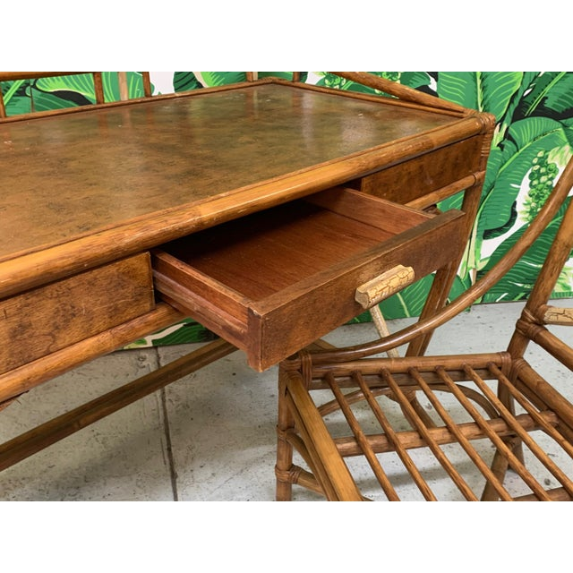 Mid Century Bamboo Desk and Chair For Sale - Image 4 of 13