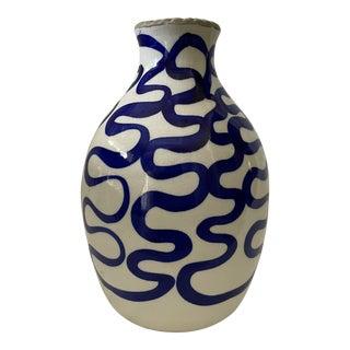 Modern Blue and White Ceramic Vase For Sale