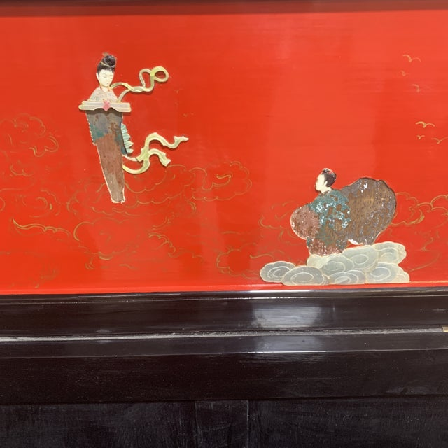 1960s Vintage Red Black Lacquer Asian Bar For Sale - Image 5 of 13