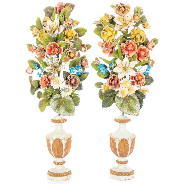 Antique Italian Tole Peinte Floral Topiaries - a Pair For Sale - Image 11 of 12
