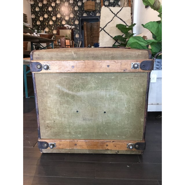 20th Century Rustic Leather and Canvas Trunk For Sale - Image 10 of 13