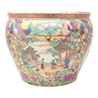 Vintage Hand-Painted Ceramic Fishbowl