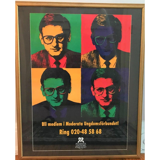 This Swedish pop art political poster is in excellent condition, having been framed and protected behind plexiglass. The...
