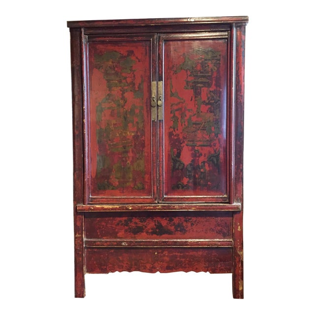 Antique Chinese Painted Wood Cabinet - Image 1 of 10