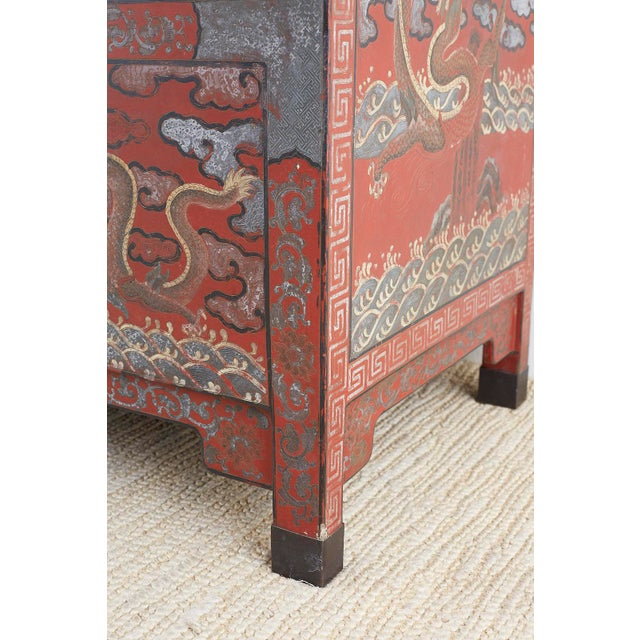 Chinese Polychrome Decorated Compound Dragon Cabinets - a Pair For Sale - Image 9 of 13
