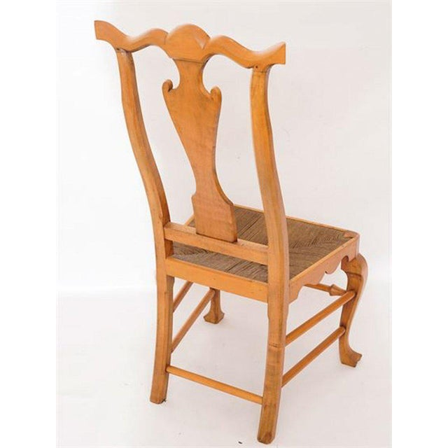 Six Chippendale Style Tiger Maple Dining Chairs For Sale - Image 4 of 9