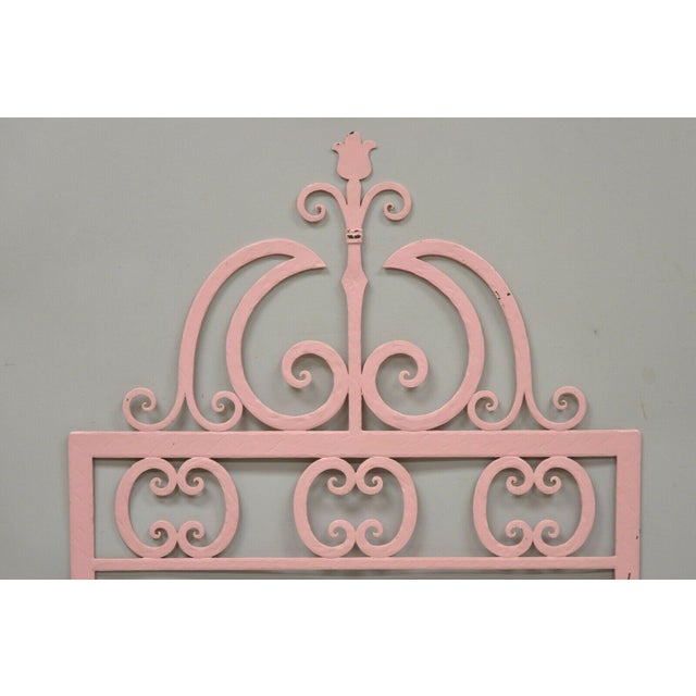 Gothic Mid 20th Century Vintage Italian Gothic Iron Hollywood Regency Twin or King Bed Headboard - a Pair For Sale - Image 3 of 13