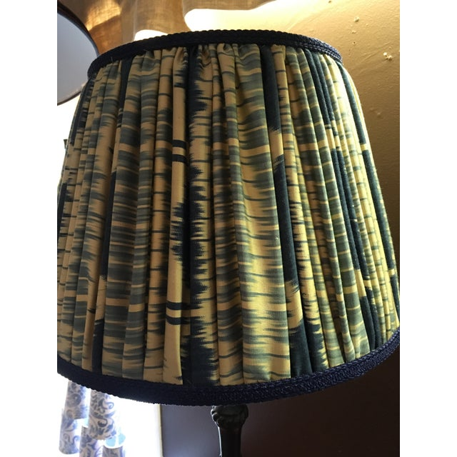 1980s Vintage Turned Wood and Brass Lamps With Hand Made Silk Ikat Shades - a Pair For Sale - Image 5 of 8