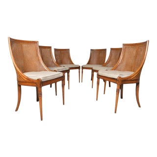 6 French Regency Louis XVI Style Cane Dining Chairs in Walnut For Sale
