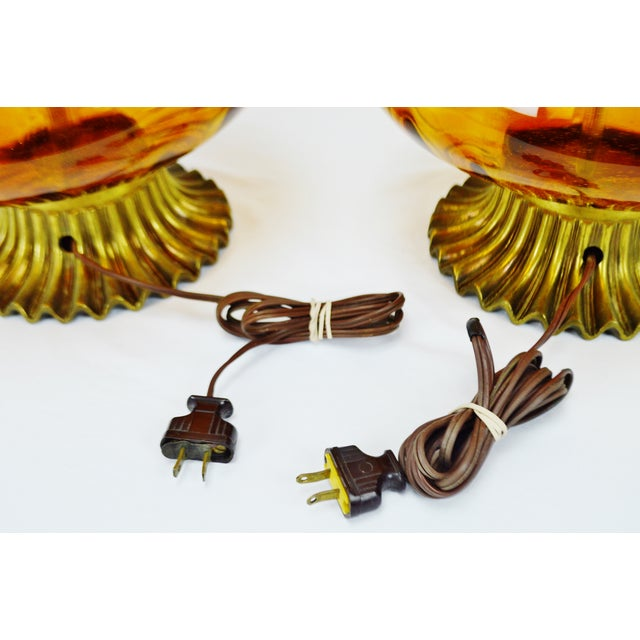 Mid Century Modern Amber Glass Table Lamps - a pair - Image 11 of 11