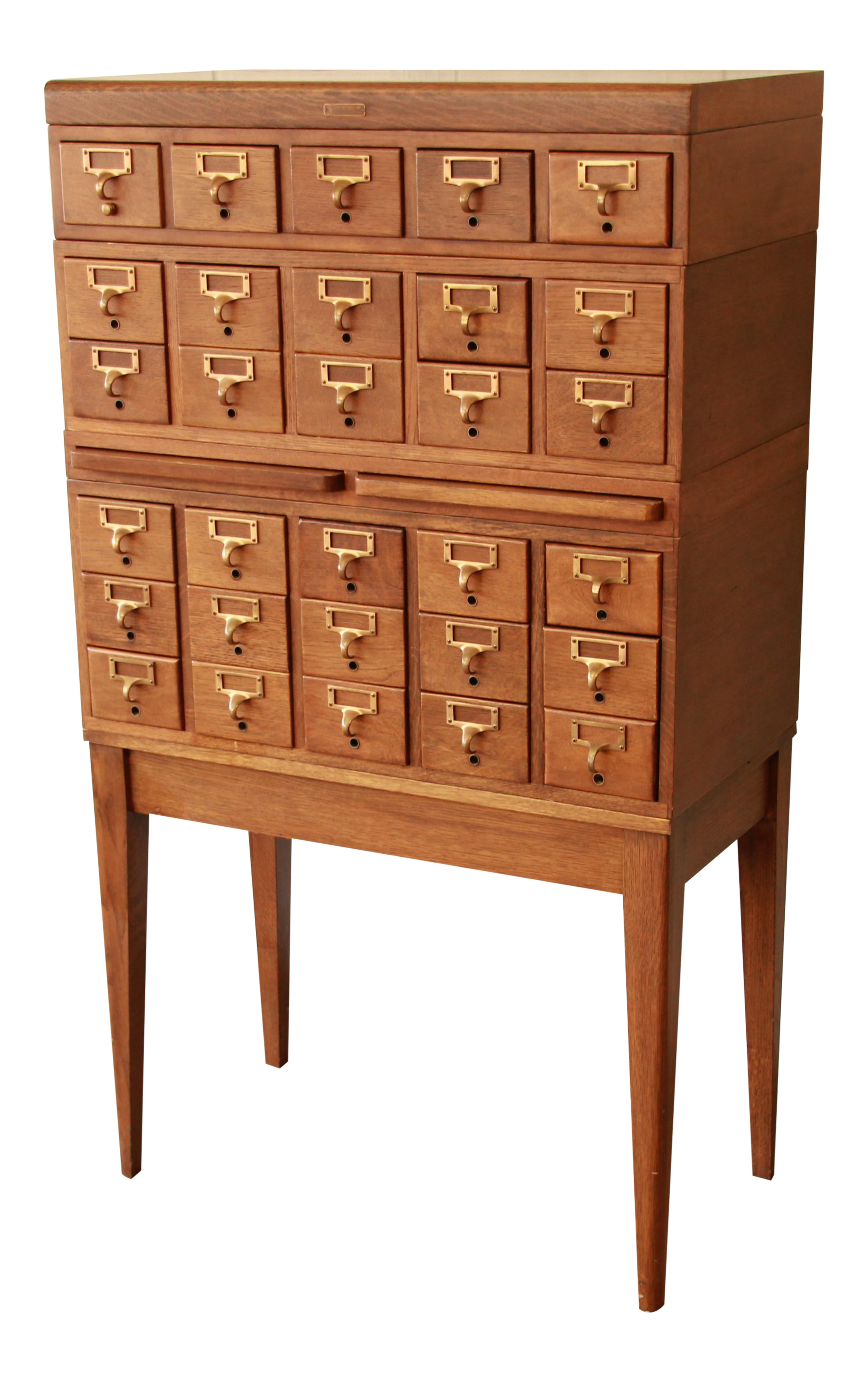 Gaylord Bros Antique 30 Drawer Oak Library Card Catalog Cabinet