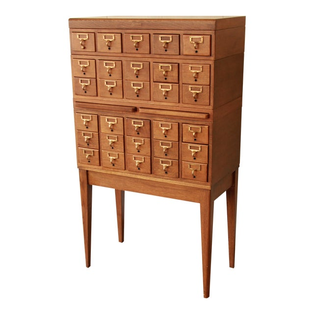 Antique 30-Drawer Oak Library Card Catalog Cabinet - Gaylord Bros. Antique 30-Drawer Oak Library Card Catalog Cabinet