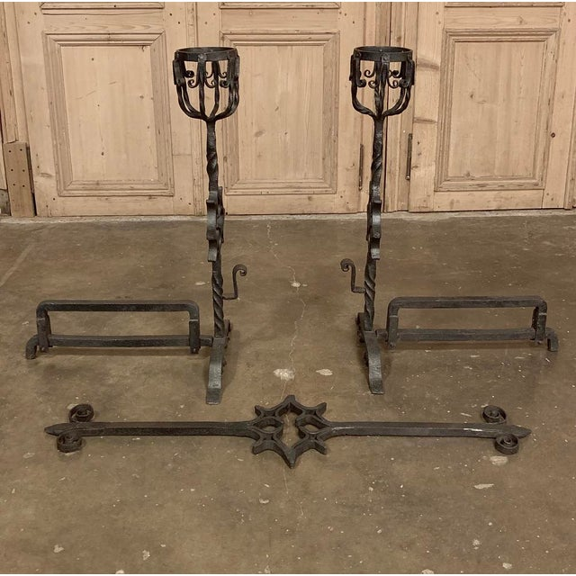 Traditional 18th Century Grand Wrought Iron Andirons For Sale - Image 3 of 13