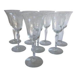 Vintage Clear Etched Floral Design Sherry Glasses S/8 For Sale