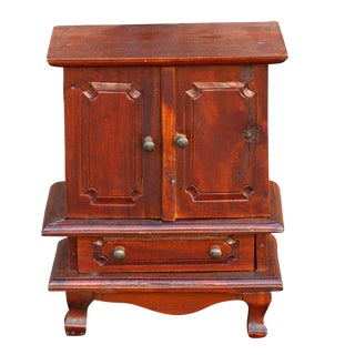 20th Century Mahogany Miniature Jewelry Armoire For Sale