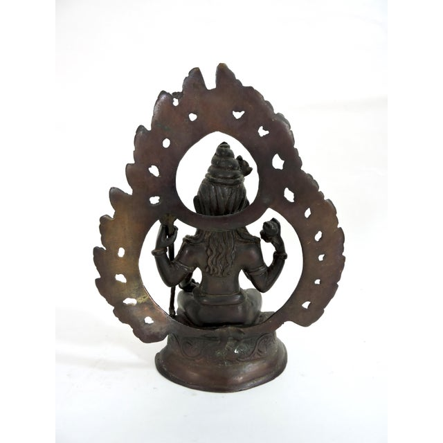Anglo-Indian 20th Century Antique Bronze Hindu Statue of Shiva, Seated For Sale - Image 3 of 7