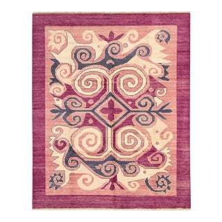 Pink Bohemian Hand-Knotted Rug For Sale