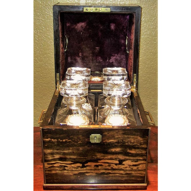 19c Irish Coromandel Wood Campaign Decanter Box With Irish Crystal Decanters For Sale - Image 12 of 12