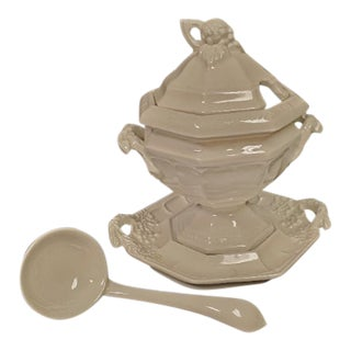 Redcliff Ironstone Sauce Tureen, Underplate and Ladle - 3 Piece Set For Sale