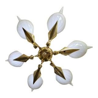 Murano Italian Franco Luce White Glass with Brass Leaf Frame Chandelier For Sale